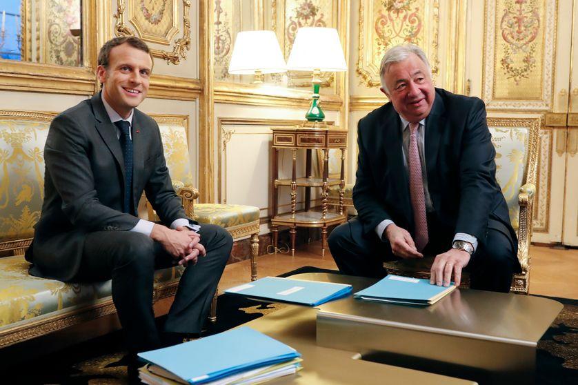 Le Président de la République Emmanuel Macron et le Président du Sénat Gérard Larcher